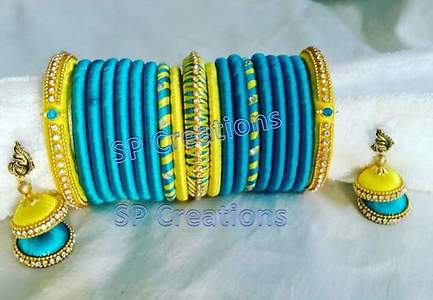 turquoise blue n lite yellow bangles with jhumkas
