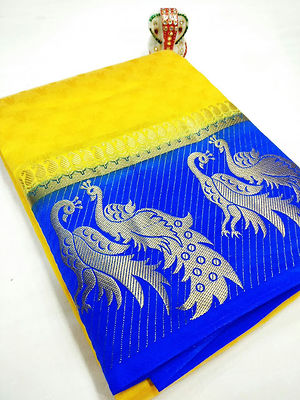 Multi Peacock Design Hand Dyed Saree