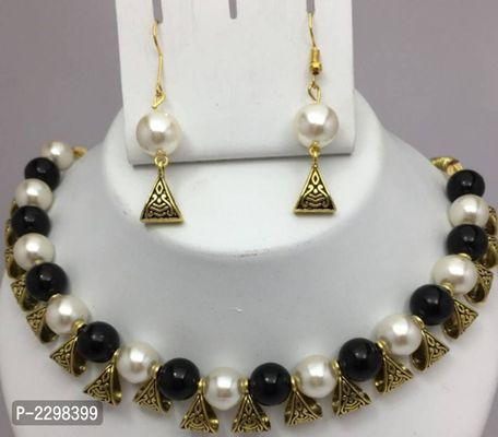 Oxidized Gold Plated Multicolour Fashion Party Wear Pearl Choker Necklace Earring Jewellery Set for Women Girls
