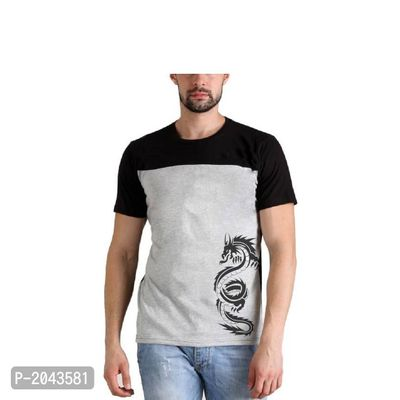 Black & Grey Printed Cotton Casual Tees