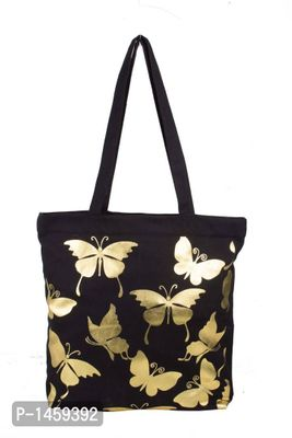 Black Butterfly Printed Tote Bag With Zip
