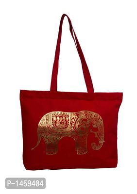 Red Elephant Printed Tote Bag With Zip