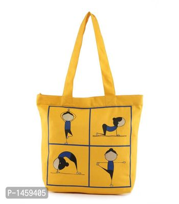 Ochre Yoga Printed Tote Bag With Zip