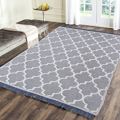 Beautiful Grey Self Pattern Chenille And Cotton Weaved Carpet - 6X4 Feet (Made In India )