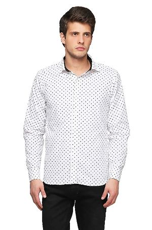 Black & white polka dot printed casual shirt