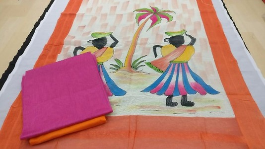 Hand loom with traditional hand painted dupatta