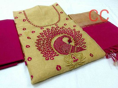 Embroidered Chanderi Silk Suits