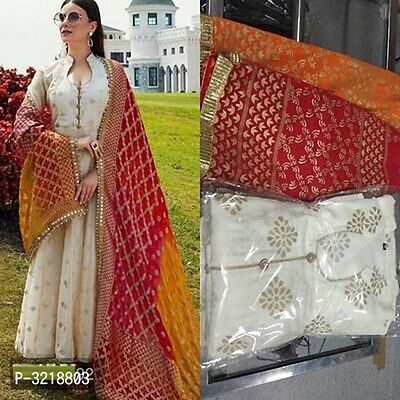Stylish White Embroidered Rayon with Heavy Dupatta