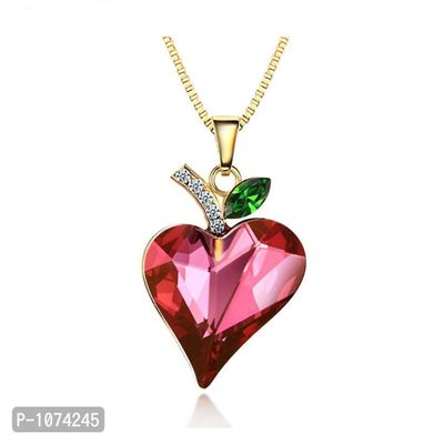 Red Pink Heart Pendant 14K Gold Plated