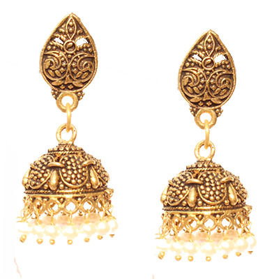 White Gold Plated Jhumkas
