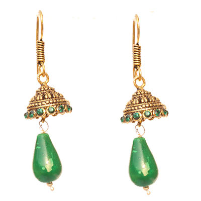 Green Gold Plated Jhumkas