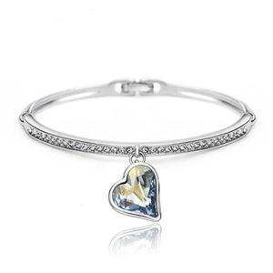 Kaizer Jewelry Charm Heart Blue Platinum Plated Bangles & Bracelets For Women & Girls Valentine Gift Collection