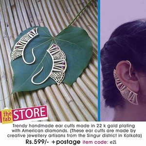 Trendy handmade ear cuffs made in 22k gold plating with American diamonds(these ear cuff are made by creative jewellery artisans from singur district in kolkata) {item code e21}