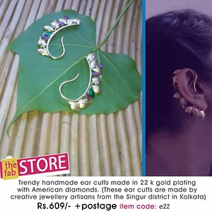 Trendy handmade ear cuffs made in 22k gold plating with American diamonds(these ear cuff are made by creative jewellery artisans from singur district in kolkata) {item code e22}