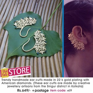 Trendy handmade ear cuffs made in 22 k gold plating with American  diamonds{e19}.