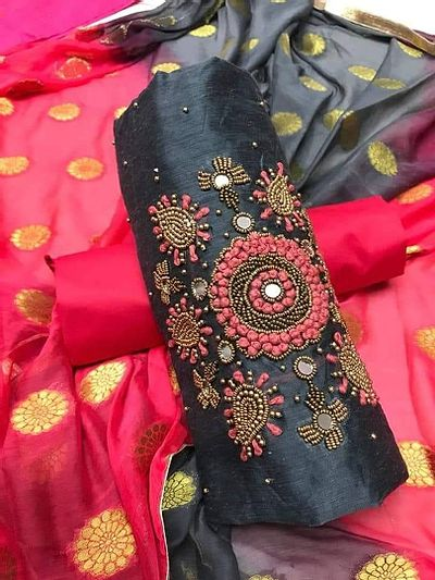 Grey Embellished Dress Material with Dupatta