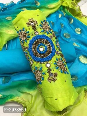 Green Embellished Dress Material with Dupatta