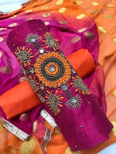 Magenta Embellished Dress Material with Dupatta