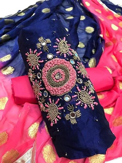 Navy Blue Embellished Dress Material with Dupatta