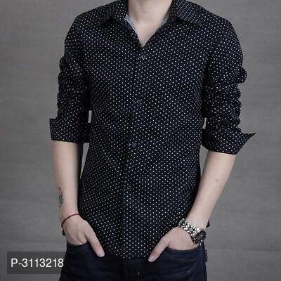 Men's Black Cotton Long Sleeves Printed Slim Fit Casual Shirt