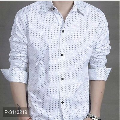 Men's White Cotton Long Sleeves Printed Slim Fit Casual Shirt