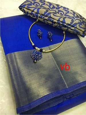🌹Semi silk sarees with brocade blouses.. 🌹brocade blouse and also running blouse.. 🌹combos of matching NECKSET and earings.. $