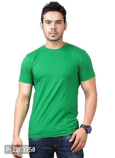 Green Solid Slim Fit Round Neck Tees