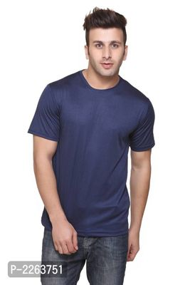 Navy Blue Solid Slim Fit Round Neck Tees