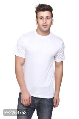 White Solid Slim Fit Round Neck Tees