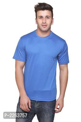 Blue Solid Slim Fit Round Neck Tees