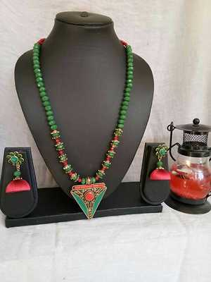 Green n red Agade beads with Silk thread jhumkas.....