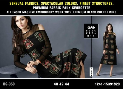 B SERIES KURTIES. All are Premium Fabrics with all Laser Machine Embroidery Work Done in it. PREMIUM KURTIS ONLY