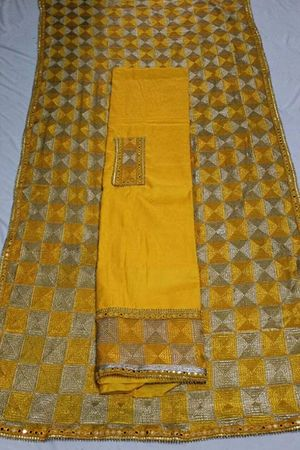 Superior Jam cotton with self print suit* with *full jaal embroidery work phulkari dupatta..PL