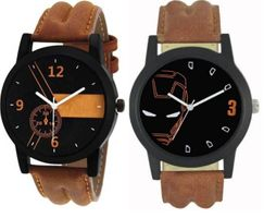 Combo Of 2 Multicoloured Analog Synthetice Leather Trendy Watch