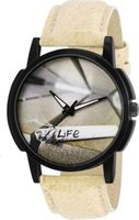 White Analog Synthetice Leather Trendy Watch