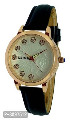 Black Analog Watch With Synthetic Leather Strap And Brass Dial