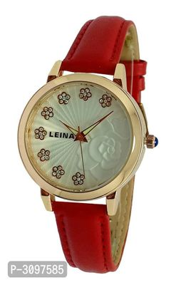 Red Analog Watch With Synthetic Leather Strap And Brass Dial