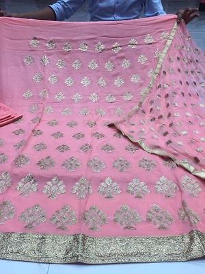 Unstitched gorgette with pure duppata shantoon bottom