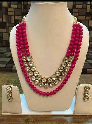 colour bead mala with two layer stone
