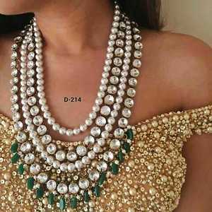 Gorgeous wedding wear pearl set with green beads