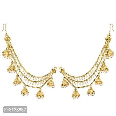 Gold Plated  Bahubali Inspired Three Layer Jhumkha Pearl Hair Chain For Women