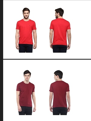 Chilli Red and Classic Red cotton T-shirts, 60% discount on MRP 799/-