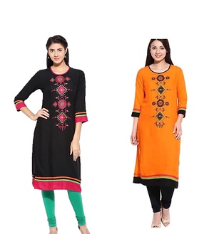 Black Rayon embroidery kurti, MRP 1099/- (Available sizes: S, M, L, XL, XXL)
