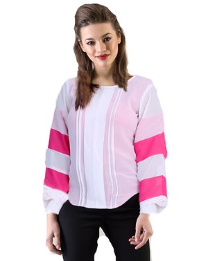 woman pink white georgette top